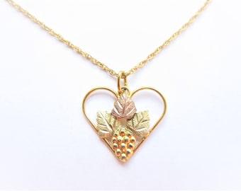 Vintage Black Hills Gold 10K Gold Heart Necklace by Landstroms