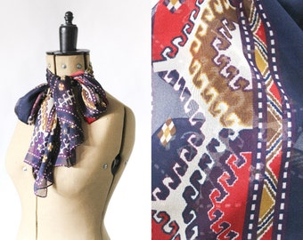 FREE DELIVERY • Aztec Scarf • Red Ethnic Scarf • 90s Vintage Scarf • Vintage Gifts For Her • Blue Womens Scarves • Sheer Scarf • Boho Scarf