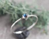 Tiny Labradorite ring - skinny silver stacking ring with rose cut Labradorite stone 3mm