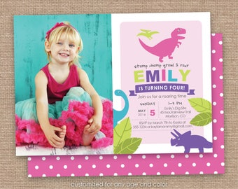 Dinosaur Girl Birthday Party Invitation, Photo, T-Rex, Long Neck, Dino, Pink, Purple, Lime Green, DIY Printable, Any Age