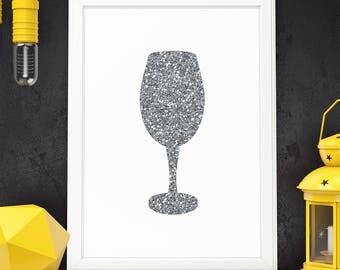 Wine Glass Printable Wine Glass Decor Silver Glitter Wine Art Decor Wine Art Printable Kitchen Wall Art Kitchen Wall Decor Digital Download