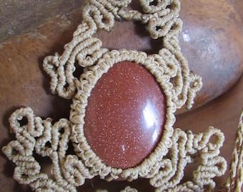 goldstone macrame necklace