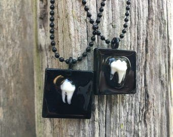 Tooth Plaque Necklace(s) - Black Square