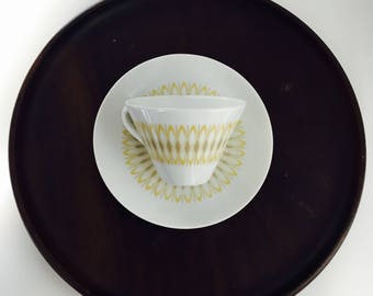 "Rare vintage Arabia Finland Fine porcelain coffee cup and saucer named ""Anni"" by Olga Osol, 1960s"