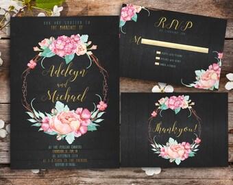 Rustic Wedding Invitation printable - elegant wedding invitation, printable wedding invitation, floral wedding invitation