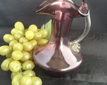 A057  Hand blown glass bud vase-amethyst (pitcher form)