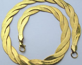 Braided Goldtone Mesh 19in AVON Necklace Chain Bold Golden Color w Secure Lobster Hook Great Gift Item Very Comfortable and Soft n Dressy