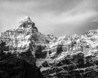 Moraine Lake Photograph, Snowy Mountain Photo, Banff National Park Print, Photography, Glacier, Alberta, Black & White, Fine Art, Wall Decor