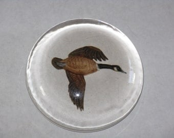 Vintage hand painted glass paperweight Canada goose