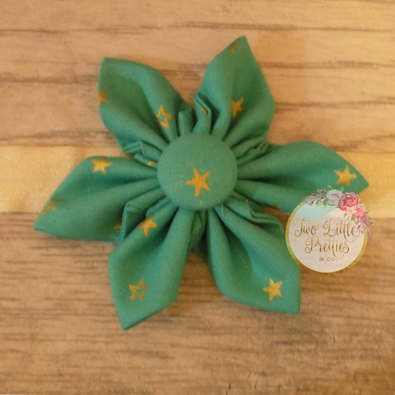 Large teal and gold star Fabric Flower Headband | Baby Girl | Hand Sewn