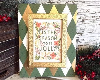 Christmas Picture Frame in Moss Green, Metallic Gold and Vintage White Argyle Pattern