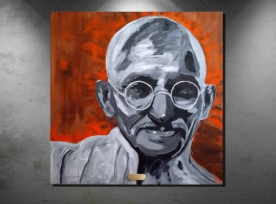 "Title "" Mahatma Gandhi "" Original Expressionist Portrait. FREE Domestic Shipping"