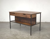 Walnut Kitchen Island - Solid Walnut and Black Steel - Free Shipping