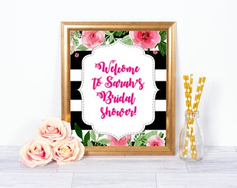Floral and Stripes Welcome Sign, Bridal Shower Welcome Sign, Printable Welcome Sign, Striped Floral Welcome Sign