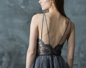 Gray lace evening dress, halter neck backless bridesmaid dress, short party dress, tulle skirt/ Only one size EU36/ Ready to ship!