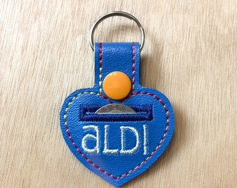 Aldi Quarter Keeper Aldi Keychain Aldi Quarter Holder aLDI Coin Holder I Love aLDI Cart Coin Quarter Keychain Key Fob - Blue/Orange
