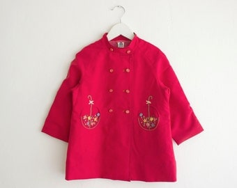 Vintage Kid Red Pea Coat with Flowers Embroidery/ for Girls Age 5-6 Years