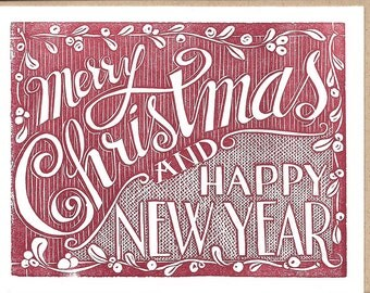 Merry Christmas and Happy New Year- Letterpress Printed Christmas Card