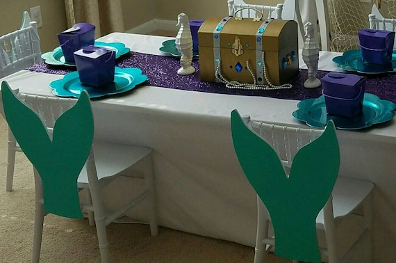 6 mermaid tails chair covers decorations