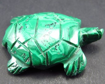 """Malachite  Turtle Carving From Congo - 1.3"""""""