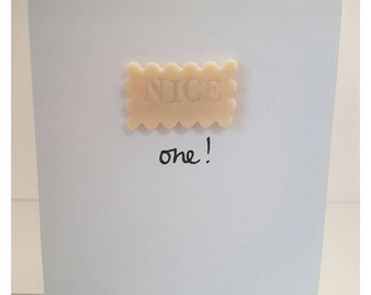 Handmade quirky  'Nice one!' / appreciation / congratulations / greeting card, decorated with 3D biscuit magnet