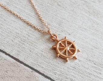 Nautical Ships Wheel Rose Gold Plated Pendant Necklace