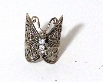 925 Sterling Silver Butterfly Ring Crystal Accents Size 5.25 ts14-051