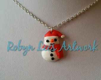 Small Snowman Polymer Clay Charm Necklace on Silver Crossed Chain or Black Faux Suede Cord. Christmas, Winter, Xmas, Festive