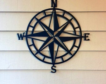 Compass Wall Decor, Nautical Compass,Wall Art, Nautical Metal Wall Art, Nautical Rose, Outdoor Metal Art, Compass Wall Hanging, Beach Decor