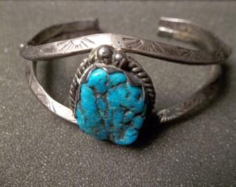 Sterling Silver 925 southwest bangle bracelet w/ turquoise stone