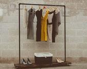 90S - Single Shelf Clothing Rack - Rolling Garment Rack - Pipe - Industrial Clothes Rack - Retail Display