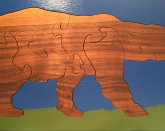 Wooden puzzle, Brown Bear wooden puzzle, 7 piece