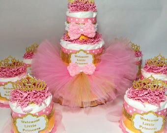 Welcome Little Princess Tutu Diaper Cake Centerpiece Set for Girl Baby Shower, Girl Diaper Cake, Pink Baby Tutu