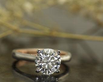Solitaire Engagement Ring! 2ct Forever One Moissanite in Platinum with 14k Rose Gold Beaded Milgrain and Bow Design, Hidden Diamonds, Noelle
