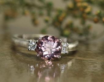 3-Stone Pink Tourmaline and Diamond Engagement Ring in 14k White Gold, Beaded Milgrain on Shank, Classic Design, Amelia PU