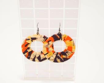 African Fabric Hoop Earrings, Fabric Hoop Earrings, Ankara Print Hoop Earrings, Handmade Fabric Earrings, African Tribal Earrings