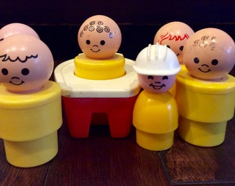1974 Fisher Price Tugboat w/ 6 Little People, Fisher Price Little People, Vintage FP Little People, Fisher Price Boat, Vintage FP Toys