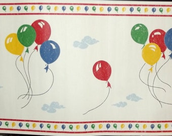 Wallpaper border primary colors BALLOONS birthday clouds red blue green 10 yds total
