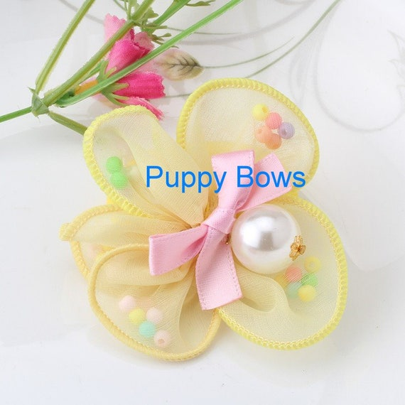 Puppy Bows ~ Girl  polka dot CHIFFON dog bow clips  peach or yellow flower ~Usa seller