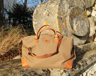 Grantham Beige Canvas and Leather Travel Bag by BURGHLEY BAGS