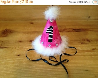 Hot Pink and Zebra Birthday Party Hat