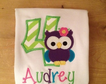 Lime Green Chevron Girly Birthday Owl Embroidered Shirt or Baby Bodysuit