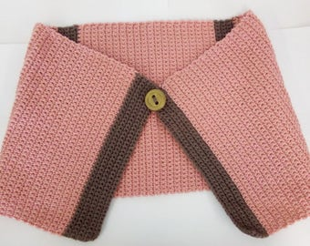 Pink and Brown Wrap with 3D printed Button Accent
