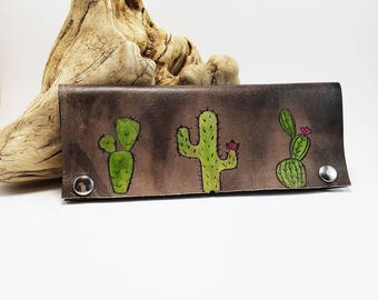 Women's leather wallet leather cactus wallet bohemian wallet gift for her