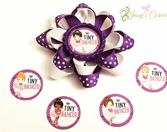 Tiny Dancer Loopy Bow / Tiny Dancer Bow / Tiny Dancer / Purple and White Bow / Loopy Bow / Bottlecap Bow