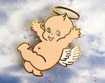 Kewpie angel enamel pin