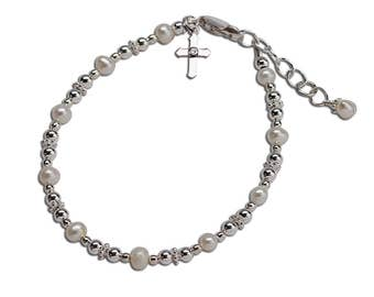 Sterling Silver Baptism or Christening Bracelet with Freshwater Pearls and Cross Charm for Baptism Gift (017)