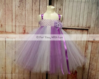 Purple, lavender and white flower girl dress empire style tea length dance pageant dress with satin ribbon strap tie and accessory flowers