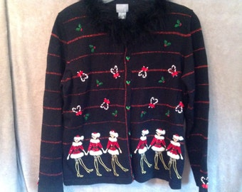Vintage Ugly Christmas Sweater Party Hand Made Beaded Embroidered Sweater Upcycled Button Cardigan Sweater