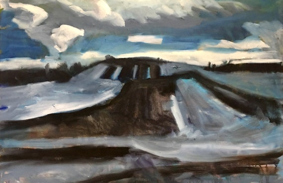 "Original Oil Painting: Winter Farmland, 36"" x 24"""
